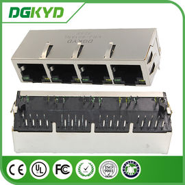 Cina 4 Port magnetics modul RJ45 Connector dengan isolasi transformator, LED pemasok