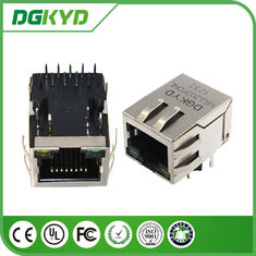 Tekan Port Tunggal 1000BASE rj45 10 pin connector, rj45 modular connector dengan led