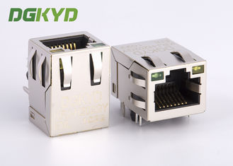 21.3mm 10 Pin Rj45 Connector dengan 1000 basis Transformer / Filter, G / Y LED