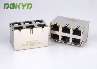 Cina KRJ -5921S2X3YGZENL Power Over Ethernet Rj45 Connector Logam Terlindung stack 2X3 G / Y LED pabrik