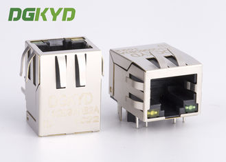 Gigabit rj45 konektor female 1000Mb Ethernet jack dengan magnet Y / G LED