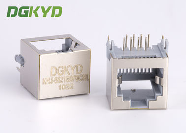 15mm Tinggi PBT Abu-abu 8p8c Pcb Mount Low Profile Rj45 Keystone Jack Tanpa Transformer