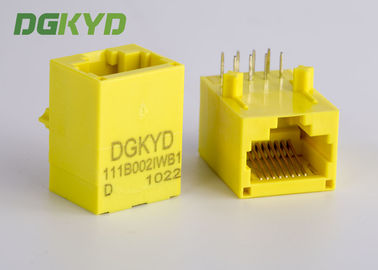Cina Warna Kuning Unshielded Rj45 Modular Jack Dengan Transformer, 100 Base - T Distributor
