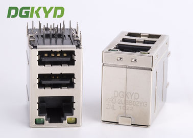 Cina Cat3 RJ45 Connector stack over dual USB 2.0 Tipe A dengan Y / G Led Distributor