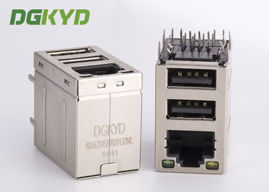 Cina Stacked RJ45 jack over dual deck Connector USB combo rj45 dengan transformator 100Mb Distributor