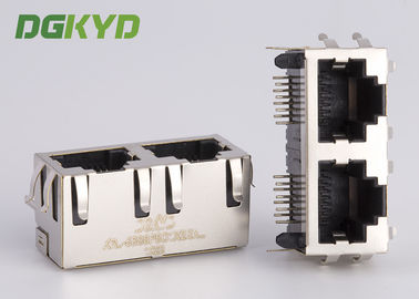 Cina KRJ - 56S8P8C1X2ENL Metal terlindung 2 port rj45 female jack Tiada LEDS tab up Distributor